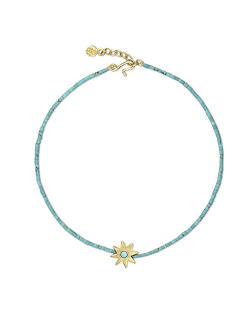 Small Cut Turquoise Star Bracelet with Turquoise Beads