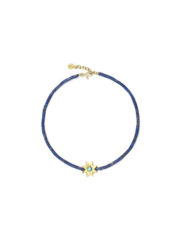Lapis Bead Bracelet with Turquoise Star
