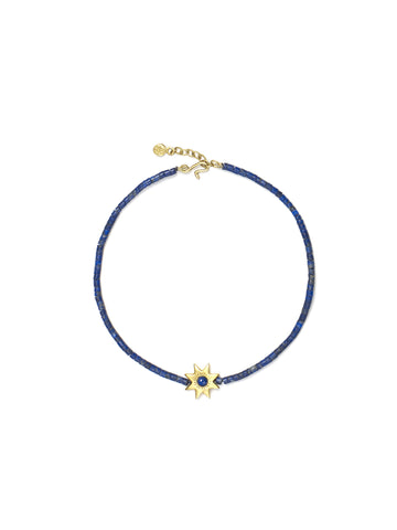 Small Cut Lapis Star Bracelet with Lapis Beads