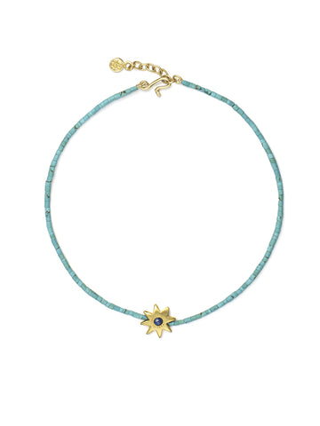 Turquoise Bead Bracelet with Lapis Star