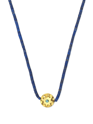Lapis Bead Necklace with Turquoise Sun