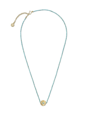 Round Turquoise Star Necklace with Turquoise Beads
