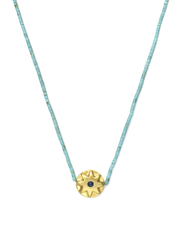 Round Lapis Star Necklace with Turquoise Beads