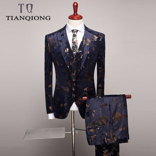 Men 3 Piece Slim Fit Printed Suit