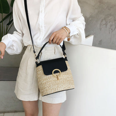 Women Small straw bucket bags