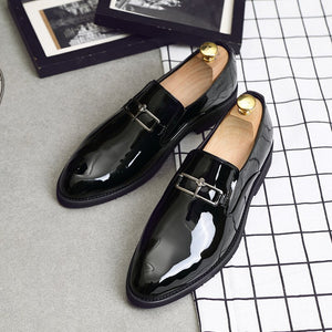 Plus Size Men casual dress black patent leather oxfords shoe