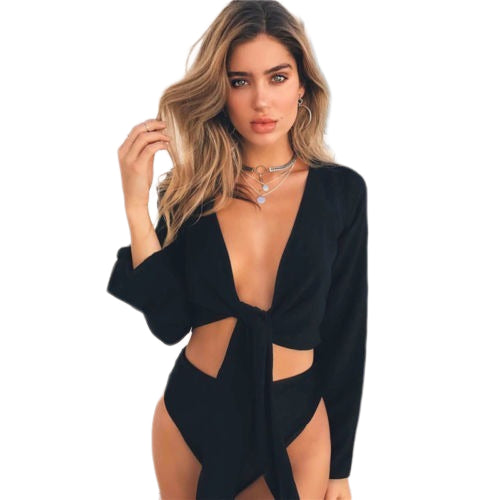 Hirigin 2019 Newest arrival Hot Sexy Women's Summer Tie Knot Crop Top Ladies Flared Sleeve Plunge Neck Tops