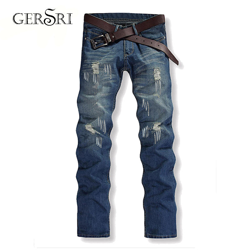Men Casual Ripped Slim Jeans Denim High Quality Cotton
