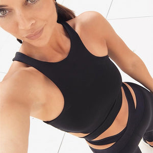 Hollow Out Sleeveless Fitness Crop Tops