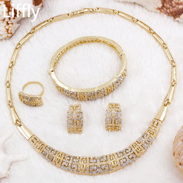 2019 Creative New Design 18 Gold Jewelry Sets Fashion Charm Women Crystal Necklace Ring Earring Anniversary Gift Jewelry