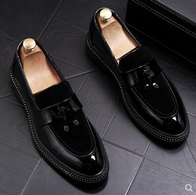 Men Business Office formal dress black genuine leather shoes