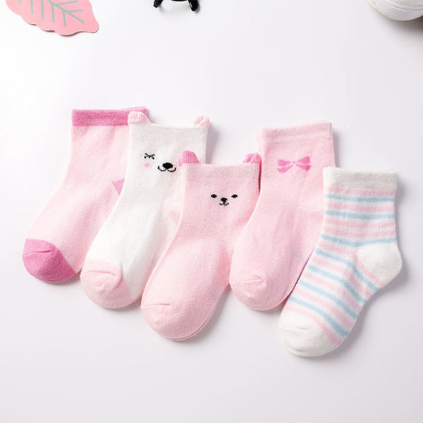 5 Pairs/Lot Children Cotton Socks Boy,Girl,Baby Warm Stripe Dots Fashion Sport'S Socks Autumn/Winter Kids Cartoon Soft CN