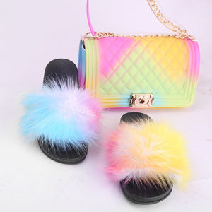 Women  Summer Furry Slippers and Bag Indoor