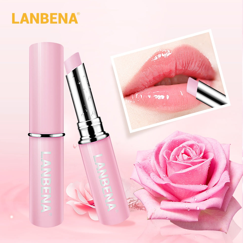 LANBENA Rose Lip Balm Natural Extract Fade Lip Lines Long-lasting Nourishing Lip Plumper Relieve Dryness Lip Care Daily Use