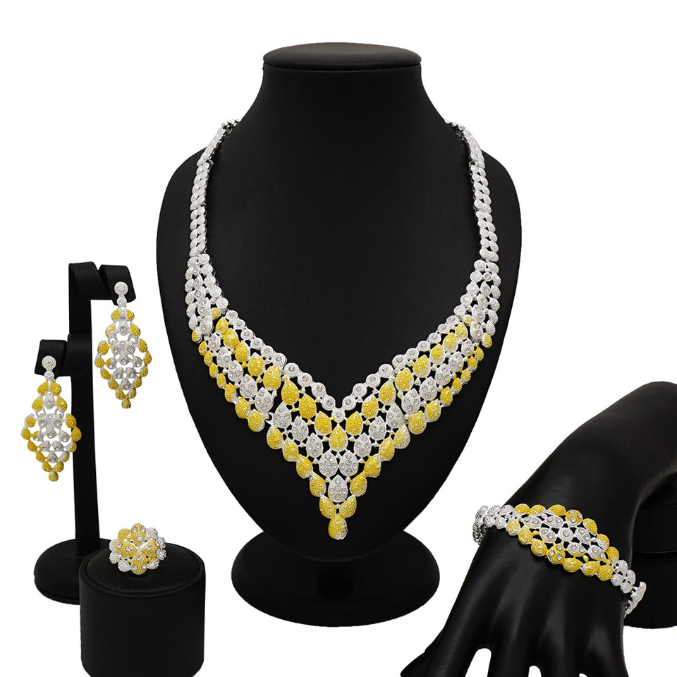 dubai gold jewelry women fashion necklace fine jewelry sets women necklace 24k gold jewelry sets African mama jewelry sets