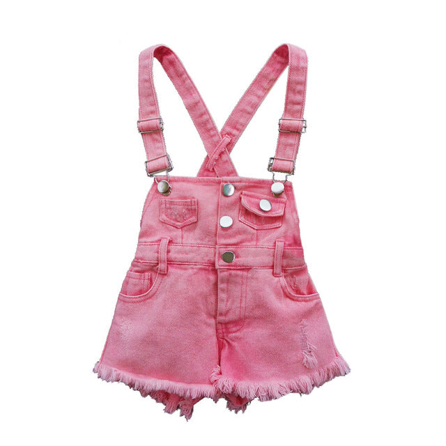 2-11 Over roll  T Summer Children Girls Romper Shorts Denim