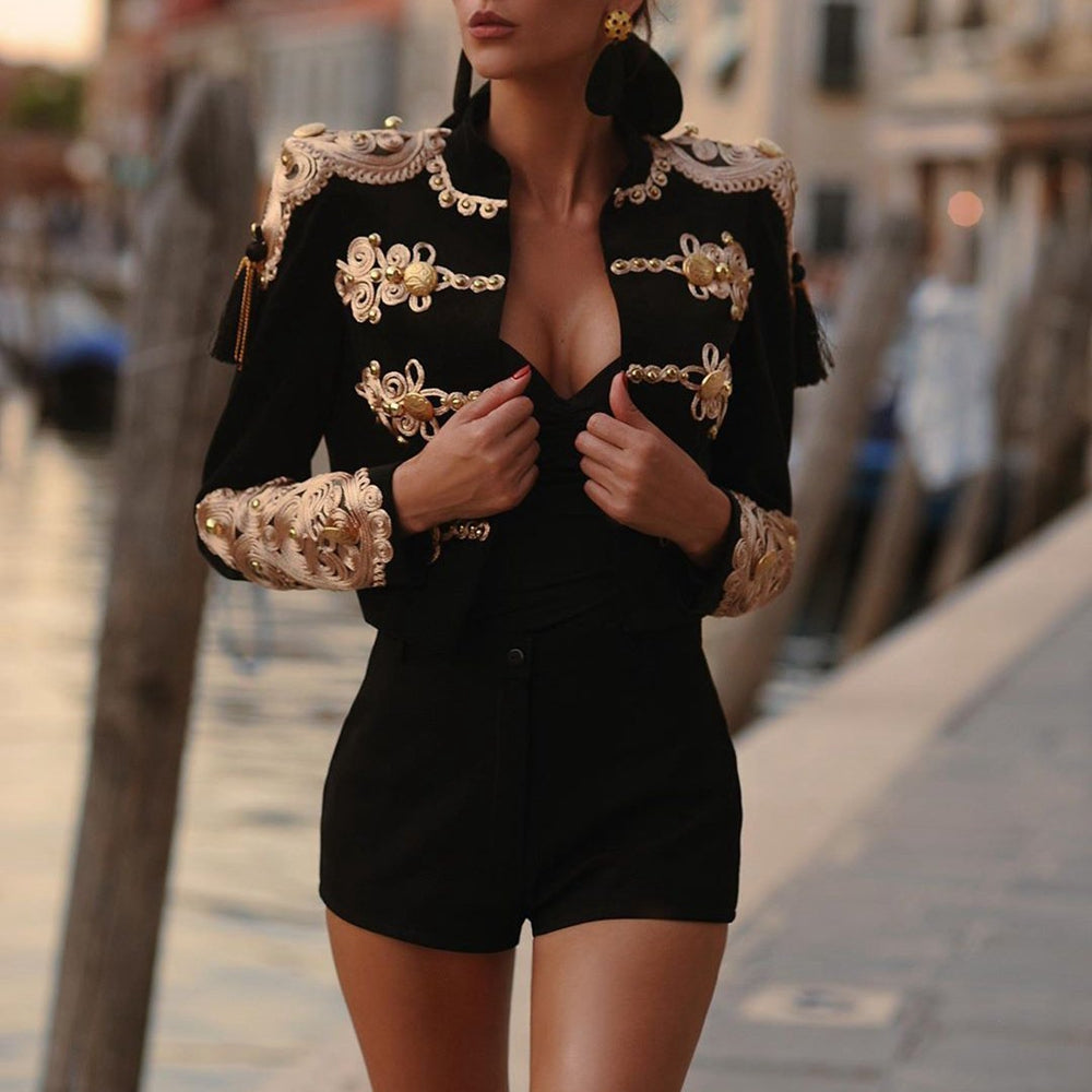 Women Elegant Black Patchwork Beading Bandage Coat Long Autumn Winter Short Jacket