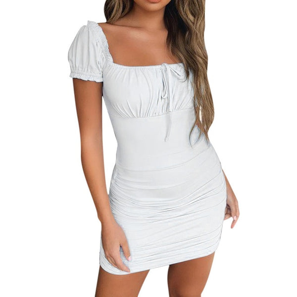 Women Short Sleeve Lace Up Ruched Bodycon