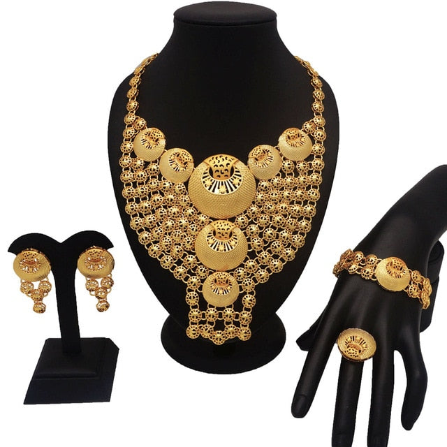 gold jewelry sets bridal jewelry set african big jewelry sets  gold plating jewelry set women necklace