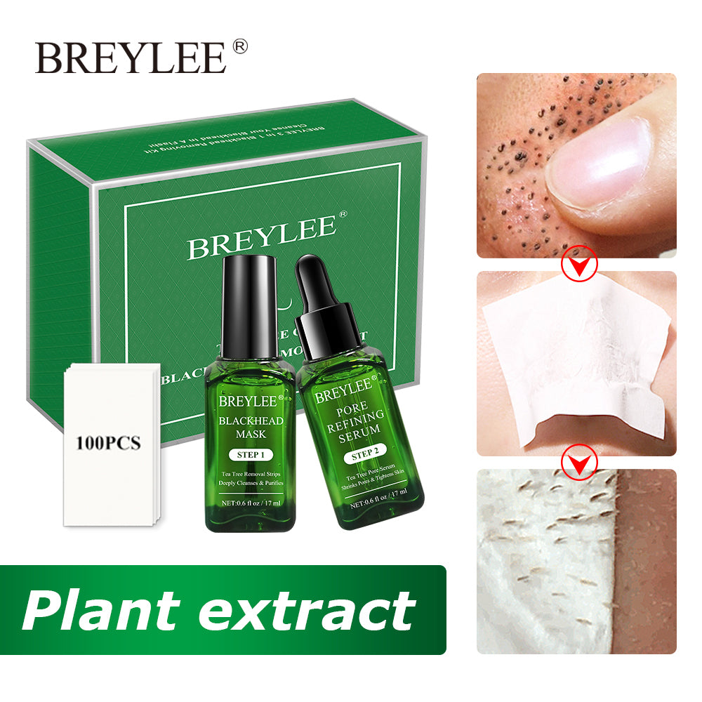 BREYLEE Blackhead Removing Kit Pore Refining Blackhead Remover Serum Acne Treatment Shrinks Pore Peel Off Facial Cream Skin Care