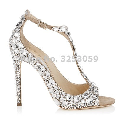 ALMUDENA Top Brand Silver Black Red Bling Bling Gem Jewelry Wedding Shoes Celebrity Peep Toe String Beaded Banquet Shoes Sale