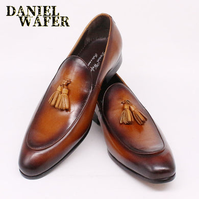 LUXURY ITALIAN LOAFERS DRESSING SHOES CASUAL LEATHER HAND MADE