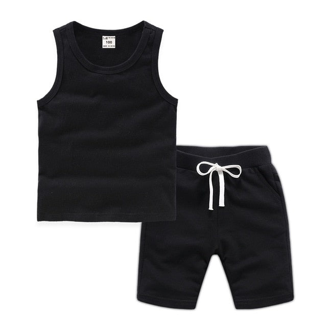 Enjoy Baby Suit Boy Clothes Children Summer Toddler Boys Clothing Set Girl Kids Pure Cotton Vest Tops And Shorts 2 Pcs 18M-12T