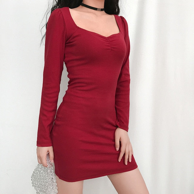 Summer Stretch Ribbed Knitted Dress