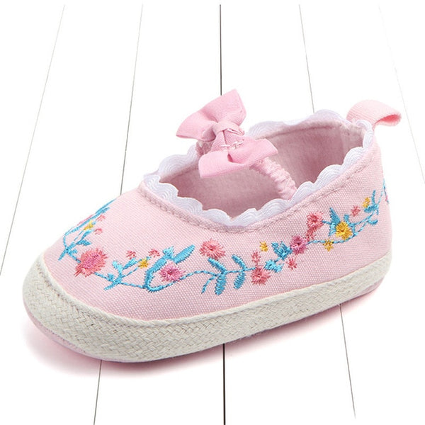 2020 Big Bow Toddler Shoes For Newborn Floral Embroidery Baby Soft Sole First Walker Anti-Slip Baby Girls Shoes Prewalker