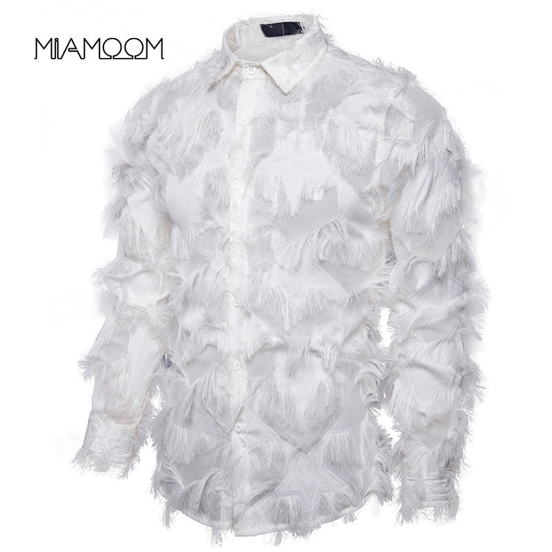 Men's Shirt Handmade Three-dimensional Feather Fabric Features Henry Collar Long-sleeve  Shirts