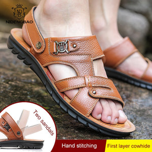 Men Genuine Leather Sandals  Casual Summer