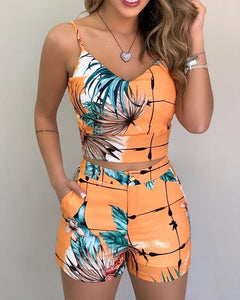 Women Casual Print Spaghetti Strap Crop Top & Short Sets Summer Beach Sleeveless
