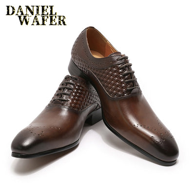 MEN OXFORDS BROGUES BLACK COFFEE TOE LACE UP OFFICE WEDDING SHOES