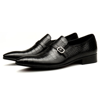 Black/Red Men Dress Shoes High Quality Breathable Slip-On Crocodile Pattern Genuine Leather Oxford Shoes
