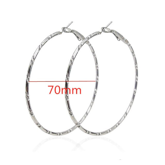 Minimalism Circle Hoop Earrings Brincos Bamboo Pattern Fine Thread Round Earrings for Women Statement Party Jewelry Gift
