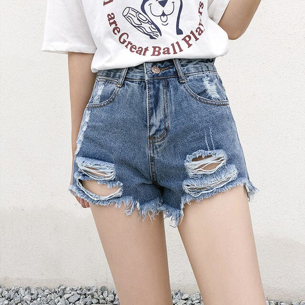 Women's Denim Shorts Jeans Vintage High Waist Wide Leg Female fur-lined leg-openings Caual Summer Ladies Shorts Jeans For Women