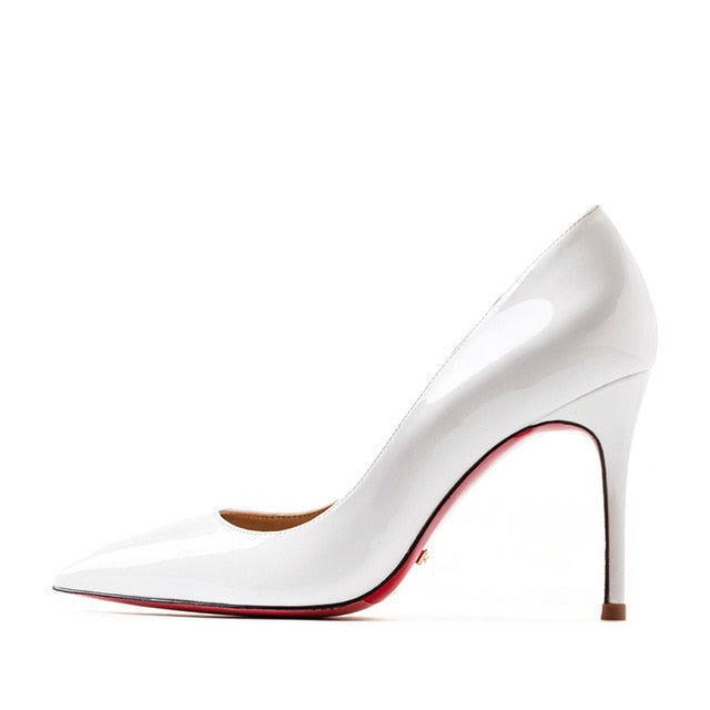 Classic White Women Sexy Pumps Summer Women's High Heeled Shoes Shallow Stilettos Red Bottom Shoe Genuine Leather 12CM Heel