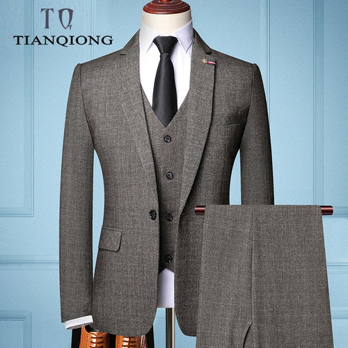 Men 's Slim Fit Business Suit 3 Pieces Sets