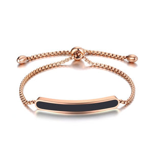 Lokaer Titanium Stainless Steel Black/White Glaze Chain & Link Bracelets For Women Rose Gold Adjustable Size Bracelet B19070
