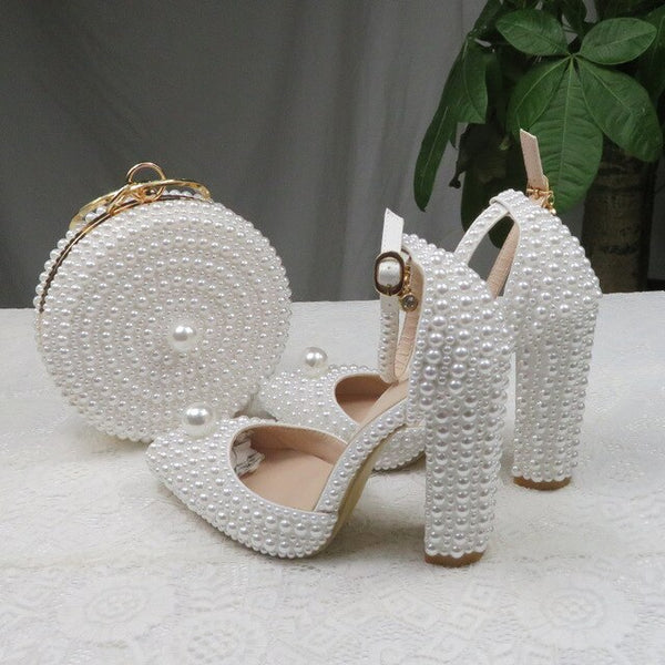 BaoYaFang White Pearl women wedding shoes And Bags Bride High heels shoes ladies party dress shoes woman Sweet Fashion Pumps