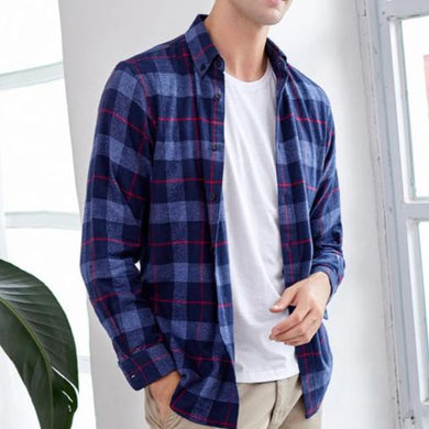 Men Masculina Streetwear Plaid Shirt