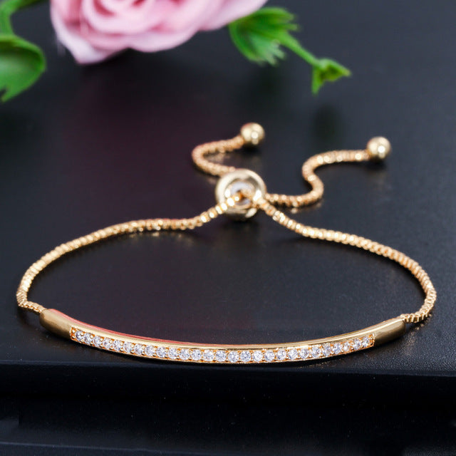 CWWZircons Adjustable Bracelet Bangle for Women Captivate Bar Slider Brilliant CZ Rose Gold Color Jewelry Pulseira Feminia CB089