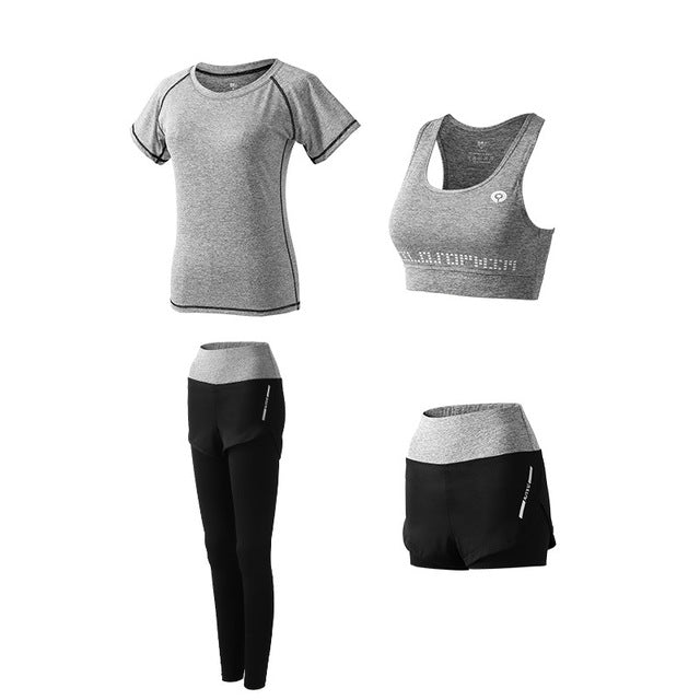 women's yoga 5 piece set outdoor Running sports quick dry tracksuits fitness suit