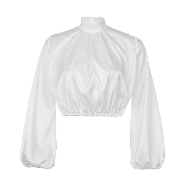 2020 Fashion Women Blouses Long Puff Sleeve Blouse Shirt Solid Elegant White Office Lady Shirt Casual Tops Blusas Chemise Femme