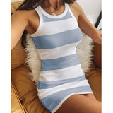 Sexy O Neck Metal Button Knitted Summer Dress Women Elegant Sleeveless Mini Dress Solid Color Slim Fit Bodycon Dresses Vestidos