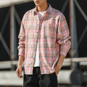 Spring Casual Plaid Shirt Men