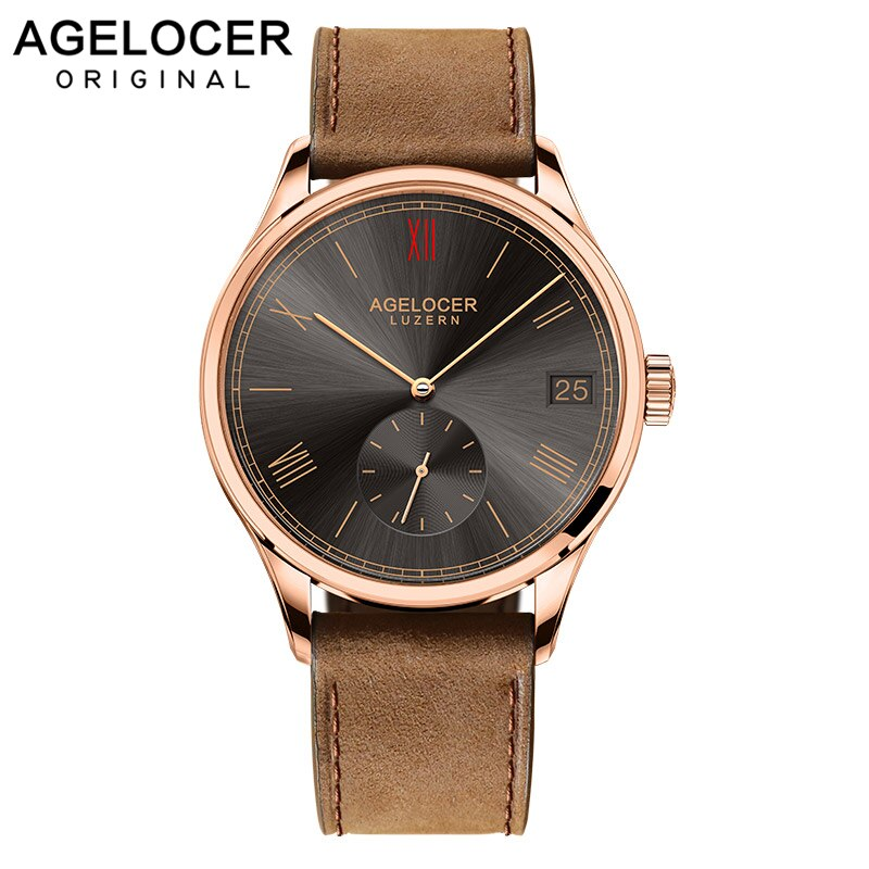 Luxury AGELOCER Wristwatch Swiss Brand Mechanical role Watch Automatic Big Date Window Second Disk Military Fossiler Watch Men