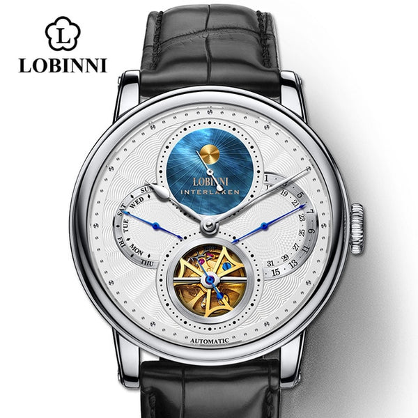 LOBINNI Rome dial watches mens 2019 relogio masculino Automatic gear Mechanical Brands steel orologio Leather Cost wrist watch