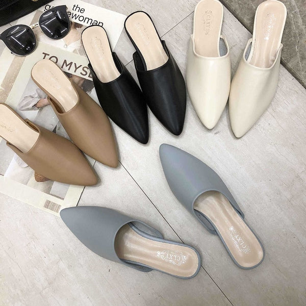 Women PU Leather Pointed Toe Slip