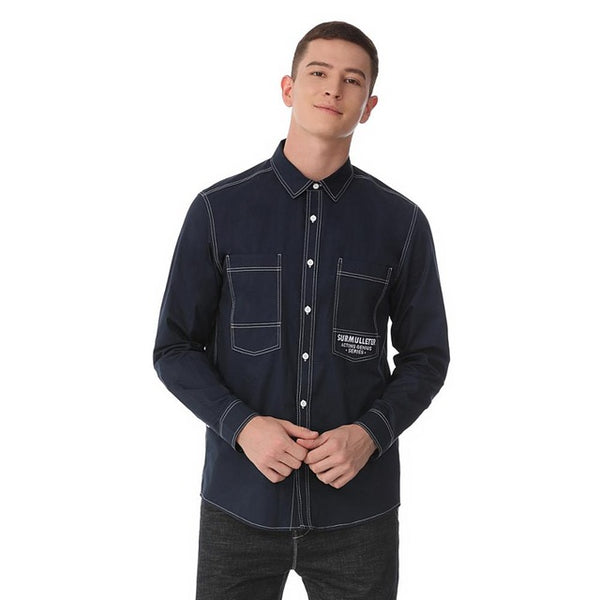 Letters Embroider Men Casual Shirt 100%Cotton Long Sleeve